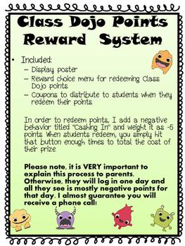 Class Dojo Reward Menu and Reward Coupons