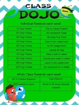 Class Dojo Reward Poster