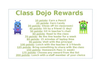 Class Dojo Reward Sheet