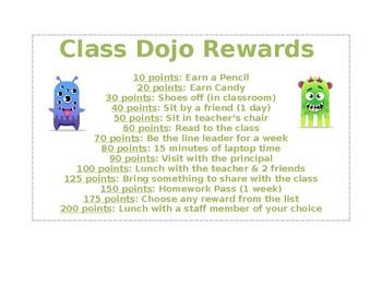 Class Dojo Reward Sheet