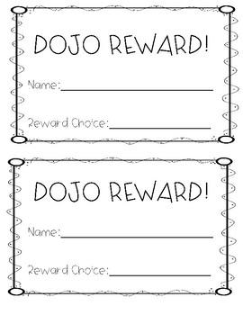 Class Dojo Reward certificate