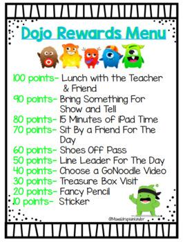Class Dojo Rewards Menu