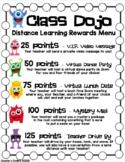 Class Dojo Rewards Menu for Distance Learning - Editable