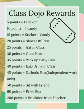 Class Dojo Rewards Poster (Editable)