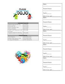 Class Dojo Rewards Sheet