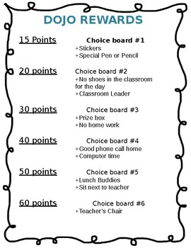Class Dojo Rewards choice board