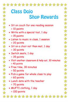Class Dojo Shop Reward Ideas