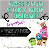 Class Dojo Sticky Note Template and Points Tracker
