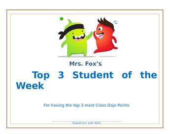 Class Dojo Student of Week certificate