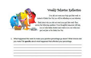 Class Dojo Weekly Behavior Reflection
