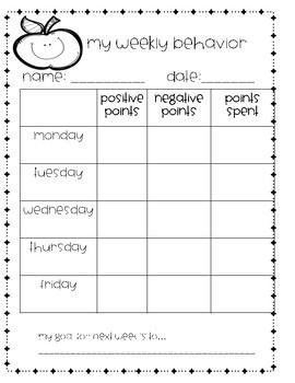 Class Dojo Weekly Behavior Sheet