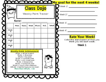 Class Dojo Weekly Behavior Tracker