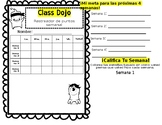 Class Dojo Weekly Behavior Tracker (Spanish)