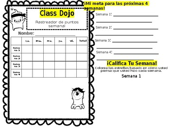 Class Dojo Weekly Behavior Tracker (Spanish)