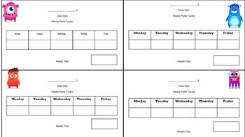 Class Dojo Weekly Points Tally Card