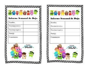 Class Dojo Weekly report (For parents) in Spanish
