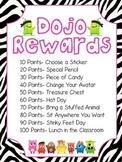 Class Dojo reward chart and points club- zebra print