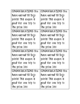 Class Dojo reward slips