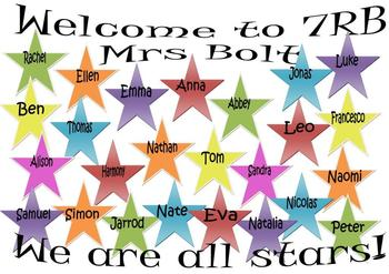 "Class Door Welcome Sign - ""We are all Stars"""