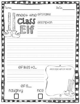 Class Elf Holiday Writing Activities