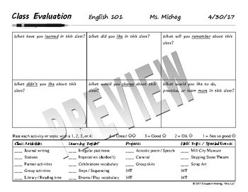 Class Evaluations: Editable Forms for Student Feedback