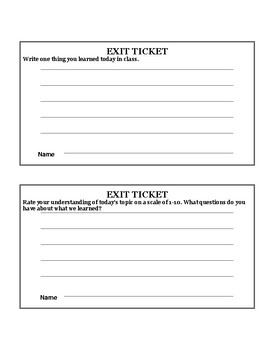FREE Class Exit Tickets