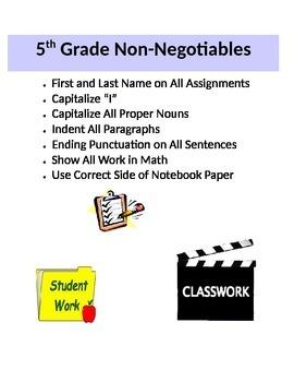 Class Expectations- Non-negotiables