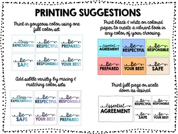 Class Rules/Expectations Poster Set - Ombre Pack