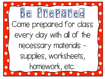 Class Expectations Posters Red and Blue, Patriotic