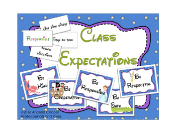 Class Expectations/Rules Banner with Matching Game & Coloring Activity