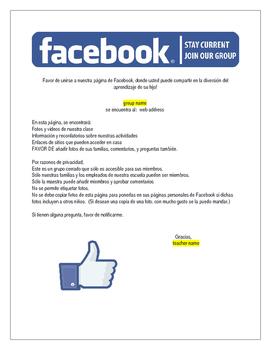 Class Facebook letter (editable,bilingual)