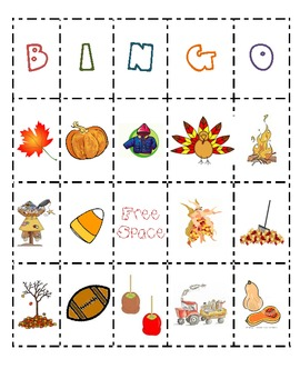 Class Fall Bingo Boards