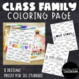 Class Family Coloring Page