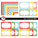 Class Frames and Labels Digital Borders Clipart by Poppydreamz