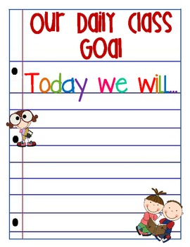Class Goal Setting Poster - Weekly and Daily