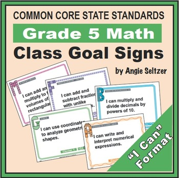 Grade 5 Class Goal Signs for Common Core Math Standards