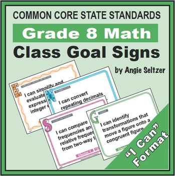 Grade 8 Class Goal Signs for Common Core Math Standards