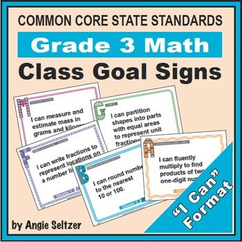 Grade 3 Class Goal Signs for Common Core Math Standards