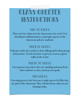 Class Greeter Instructions for High School and Middle School