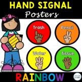 Classroom Hand Signal Posters Editable, Black and Bright R