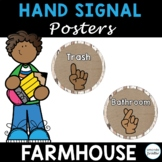 Classroom Hand Signal Posters Editable, Farmhouse Theme
