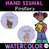 Classroom Hand Signal Posters Editable, Watercolor Theme