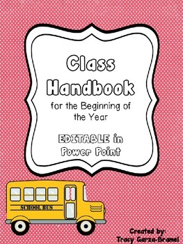 Class Handbook for Beginning of the Year- back to school