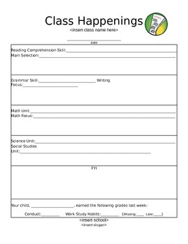 Class Happenings Newsletter Template:  EDITABLE