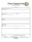 Class Happenings Newsletter Template:  EDITABLE