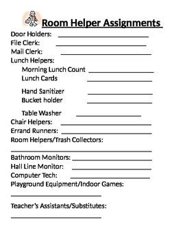 Class Helper Chart
