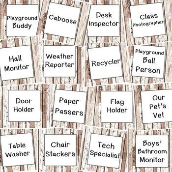 Class Helper Job Chart for Farmhouse Shiplap Decor Theme