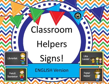 Class Helpers / Jobs / Monitors Chalkboard theme labels posters
