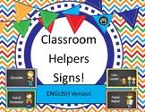 Class Helpers / Jobs / Monitors Chalkboard theme labels posters