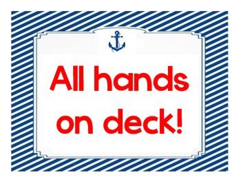 Class Helpers / Student Jobs: Nautical Classroom Theme